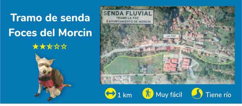 Viajar con perro en Asturias. Tramo de senda con río «Foz de Morcín»
